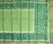 Parrot Green Printed Kota Silk Saree with Attached Blouse