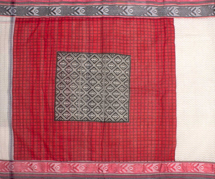 Red and White Woven Design Bengal Cotton Saree