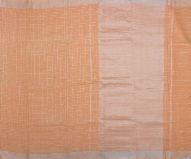 Light Orange Blouse and Checked Linen Saree and Attached Blouse