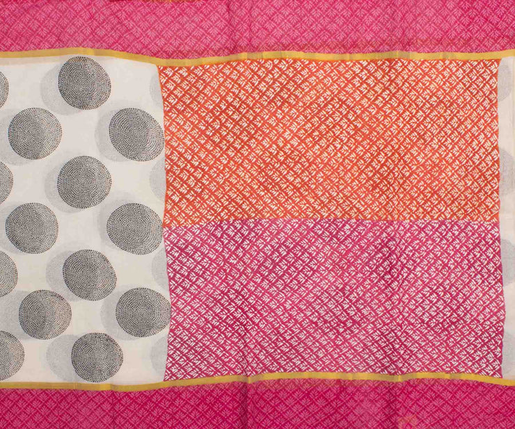Pink and Orange Hand Block Printed Bengal Cotton Saree With Kantha Work And Attached Blouse