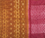 Mustard and Pink Chanderi Saree with Blouse