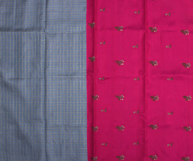Grey Checked Kanchi Silk Saree with Pink Pallu and Blouse Crafted with Floral Embroidery