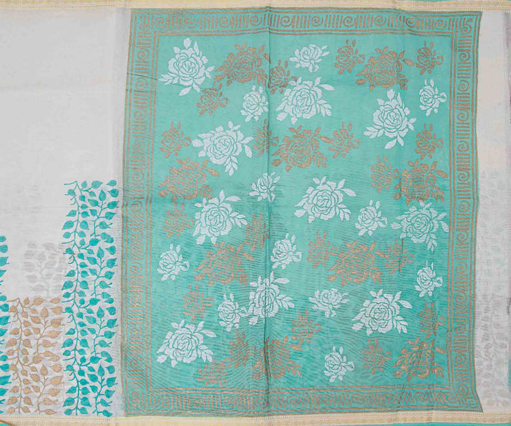 Sapphire Green Hand Block Printed Bengal Cotton Saree And Attached Blouse