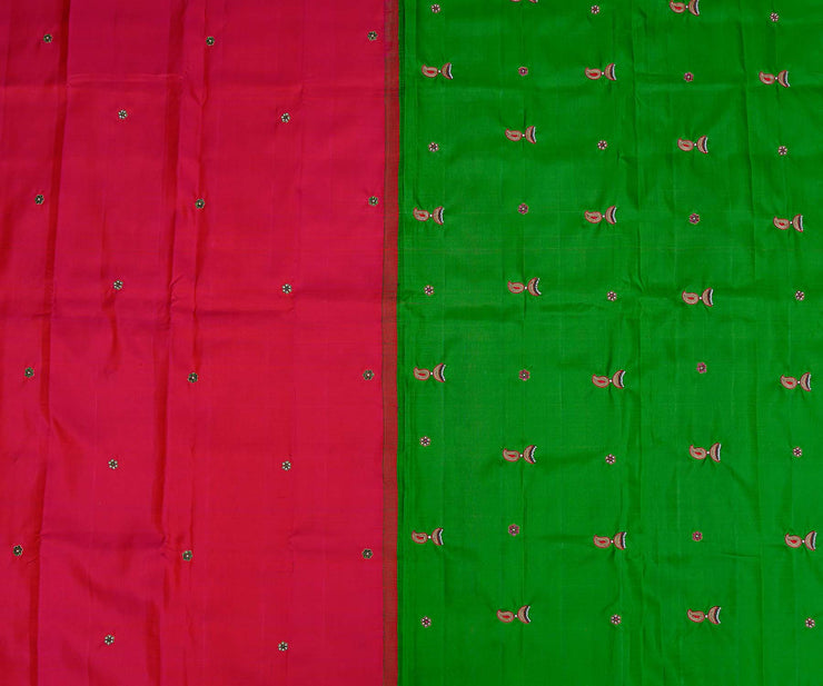 Reddish Pink Kanchi Silk Saree with Pearl Butta and Light Green Pallu Crafted with Jimmki Butta Embroidery