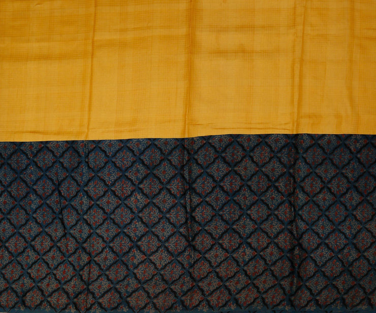 Yellow Tussar Silk With Indigo Mudal Silk Half And Half Saree