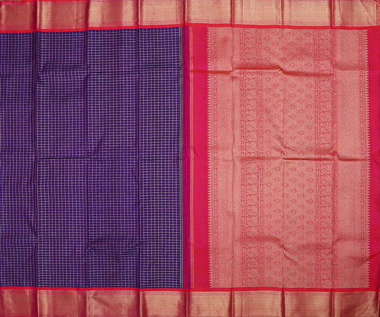 Navy Blue Checked Kanchi Silk Saree with Magenta Grand Zari Border and Pallu