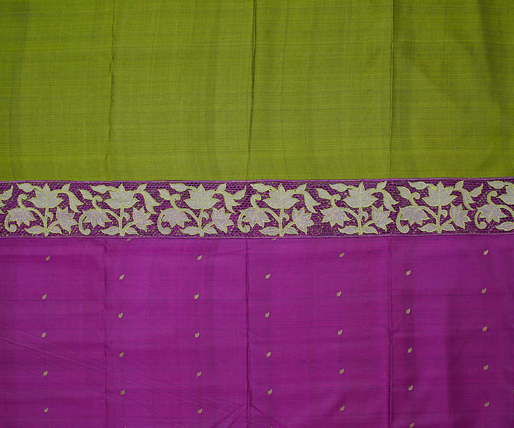 Purple with Olive Green Kanchi Silk Saree Crafted with Honeycomb Cut Work