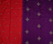 Red Kanchi Silk Saree with Small Floral Butta and Purple Pallu Crafted with Jewellery Butta Embroidery