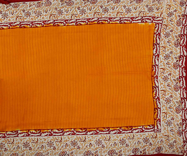 Mustard Chanderi Half and Half Floral & Stripes Block Printed Saree