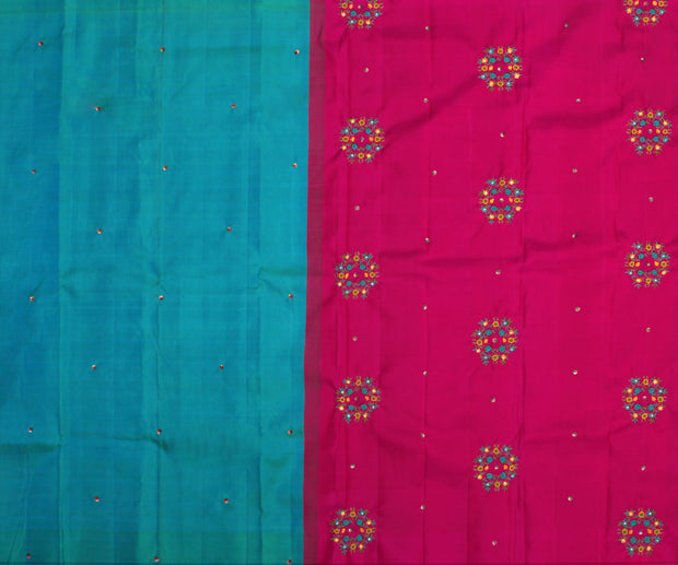 Turquoise Green Kanchi Silk Saree with Sequence and Pink Pallu Crafted with Bullion Knots Floral Embroidery