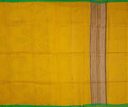 Yellow Jute Saree With Small Green Border
