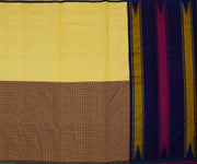 Yellow Tussar With Checked Multi Color Kanchi Silk Half and Half Saree