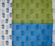 Green and Blue Hand Block Printed Bengal Cotton Saree