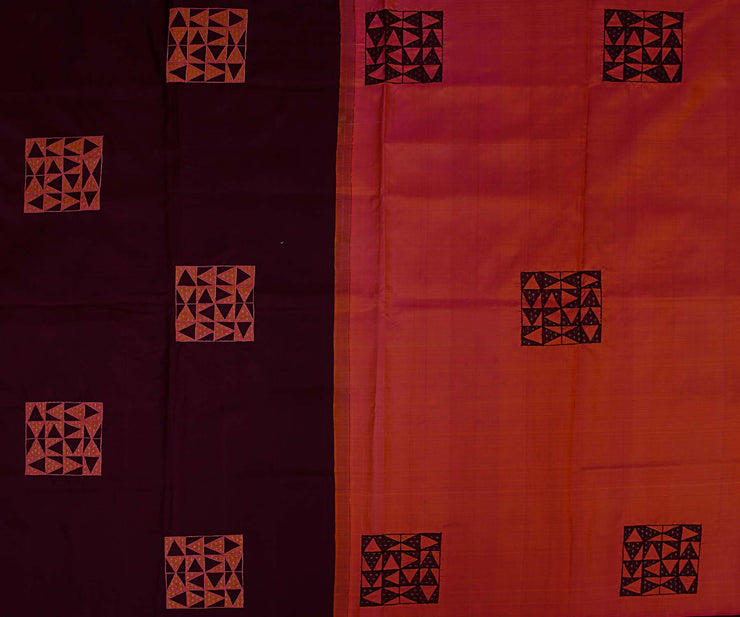 Brown Kanchi Silk Saree and Peach Pallu Crafted with Tile Design Applique