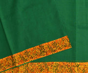 Green Kota Saree With Mustard Floral Printed Cotton Blouse