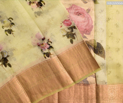 Pale Lime Yellow Floral Digital Print Organza Saree And Gold Zari Border With Blouse