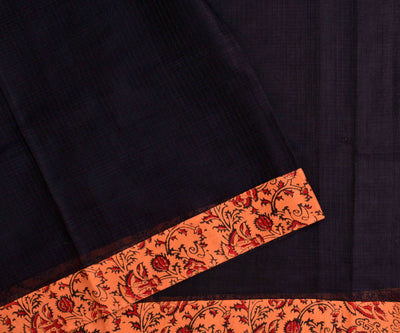 Blacl Kota Saree With Tangerine Floral  Printed Cotton Blouse