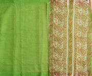 Self Checked Organza Parrot Green Saree With Floral Inskirt Cotton Saree And Blouse