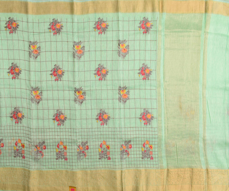 Pistachio Green Embroidered Check Linen Saree And Gold Zari Border With Blouse