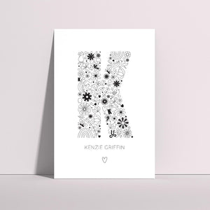 Custom illustrated letter art prints
