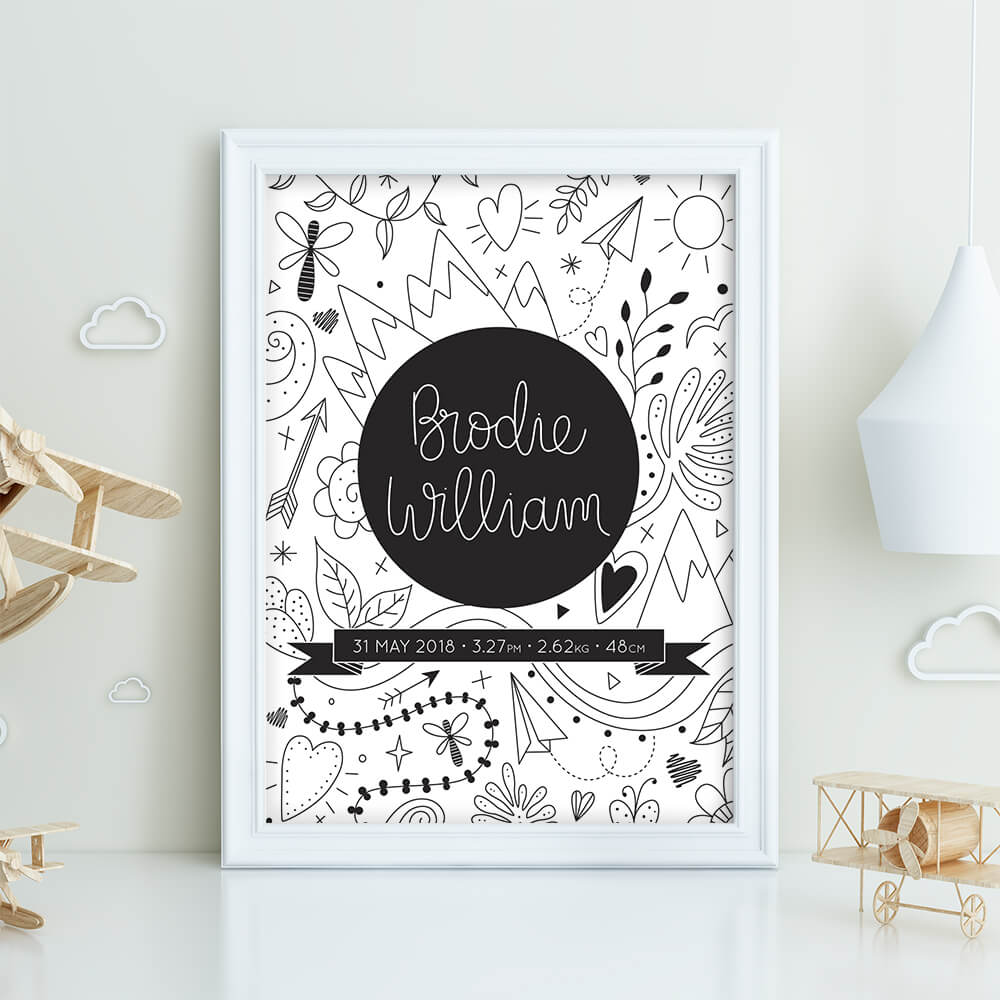 Illustrated mountains custom birth print