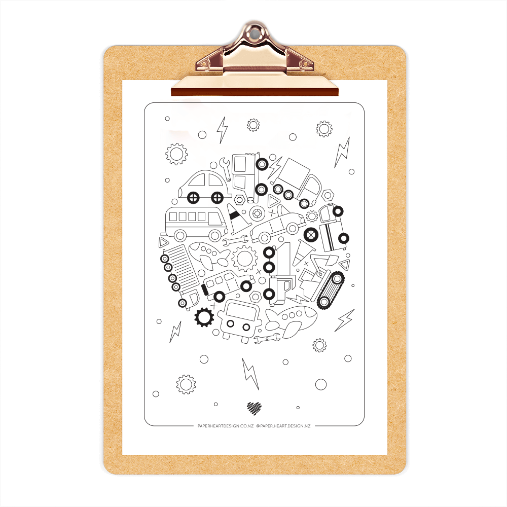 Wheelie fun free printable colouring in page