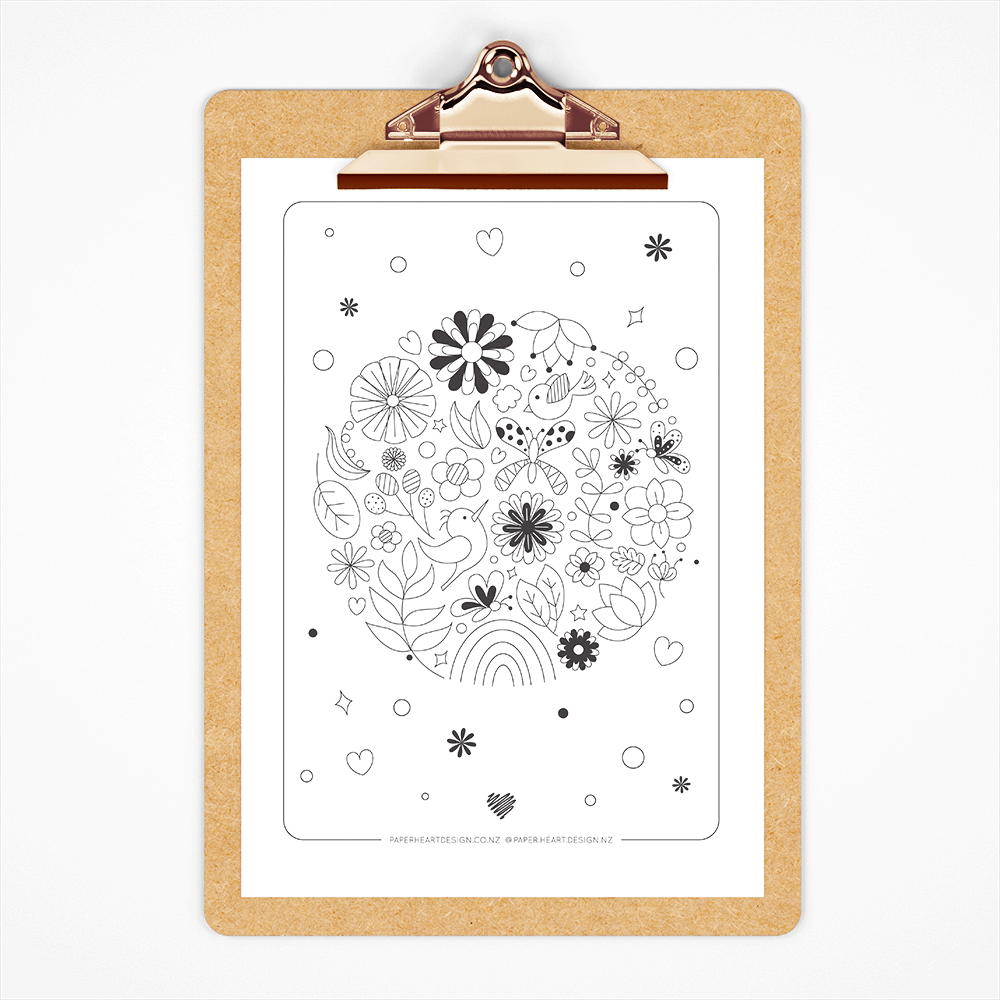 Free floral printable colouring page
