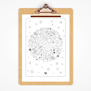 Free space printable colouring page