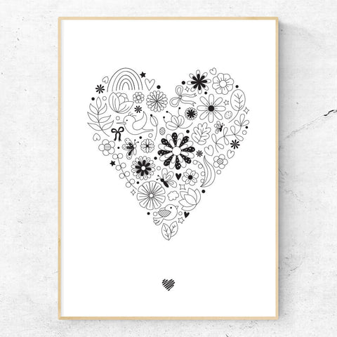Hand drawn heart print