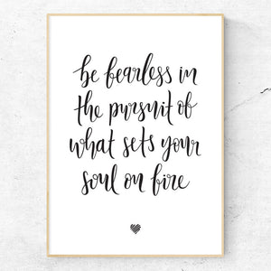 Be Fearless hand lettered art print