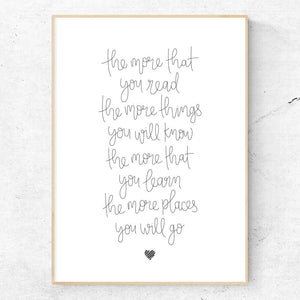 Hand lettered art print - Dr Suess quote