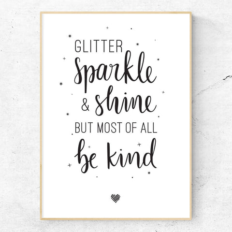 Glitter sparkle and shine hand lettered print