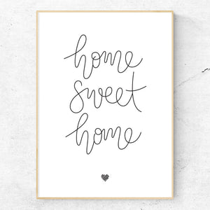 Hand lettered wall art - Home Sweet Home