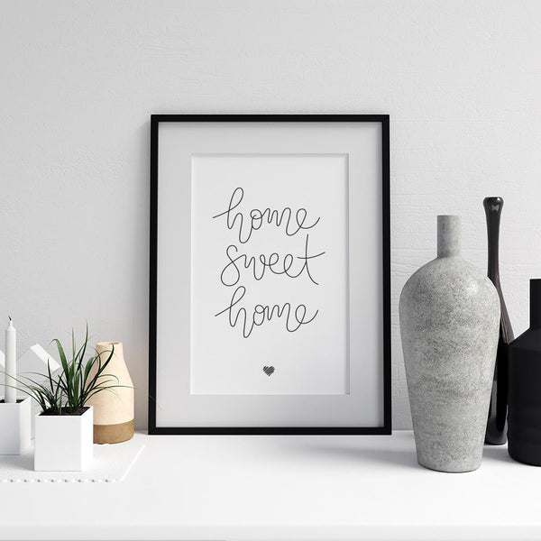 Home Sweet Home hand lettered art print