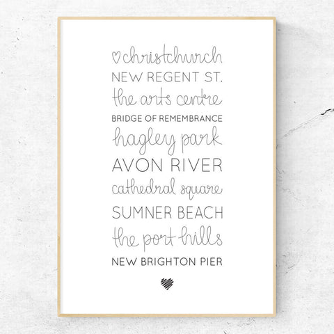 Love Christchurch hand lettered art print