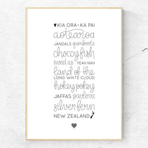 Love New Zealand hand lettered print