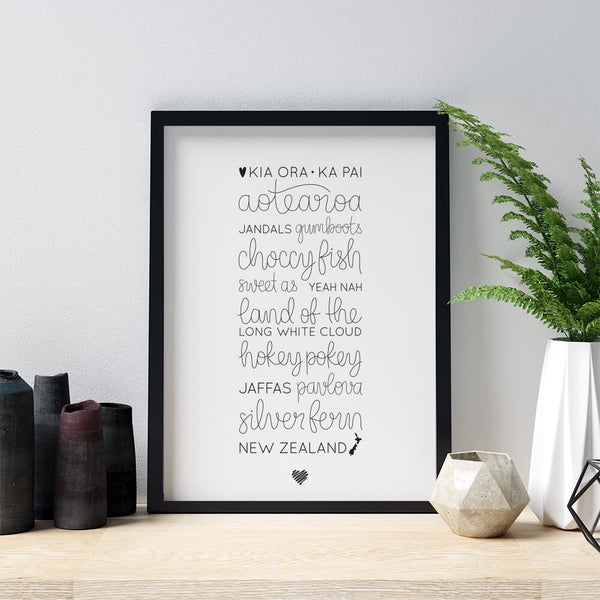 Hand lettered wall art - Love New Zealand
