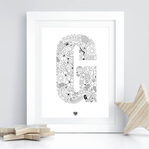 Hand drawn Tropicana letter art print