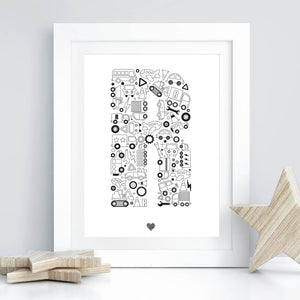 Wheelie Fun illustrated letter art print