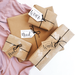 Want Need Wear Read hand lettered gift tags