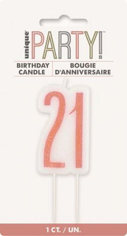 21st Candle Rose Gold