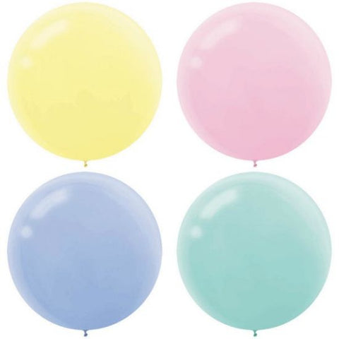 Pastel 60cm Round Latex Balloon - 4 Pack