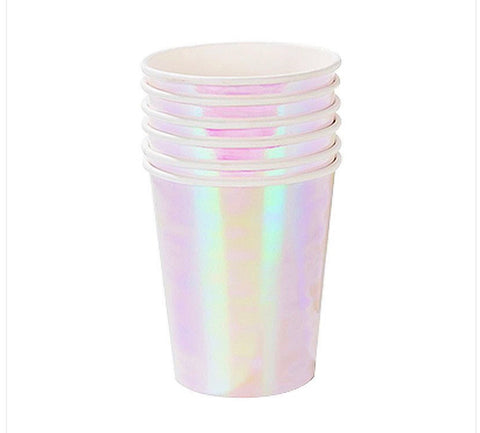Iridescent Silver Paper Cups 6 Pack