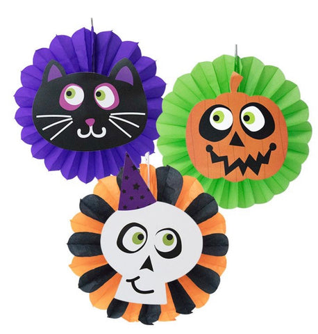 Halloween Paper Fans Set Of 3