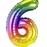 Rainbow Number Foil Balloon