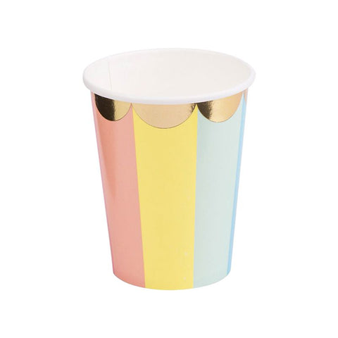 Rainbow Gold Foil Cups 8 Pack