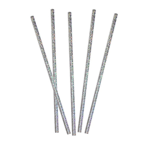 Iridescent Silver Paper Straws 20 Pack