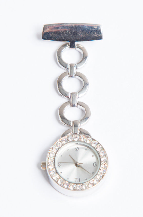 Florence Roby Silver Diamante Fob Watch