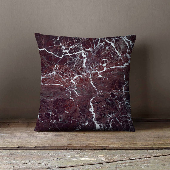 Red Marble Stone Pillowcase | Decorative Throw