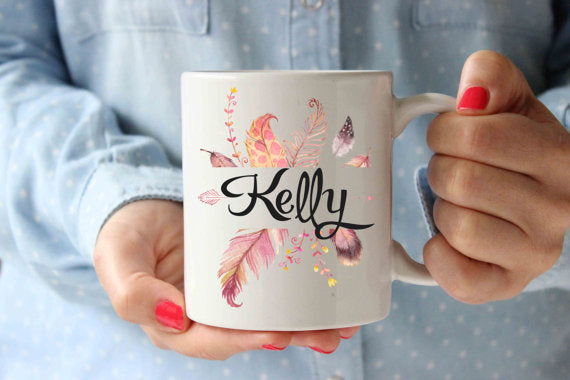 Coffee Mug | Feathers Name Personalized Mug | - Lewis Luxury Furniture and Interior Design